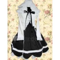 Cotton White Long Sleeves Blouse And Black Cotton Lolita Dress(CX155)