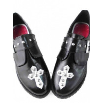 Black and White Cosplay Shoes with Cross