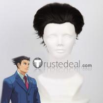 Gyakuten Saiban 4 Apollo Justice Ace Attorney Phoenix Wright Black Cosplay Wig