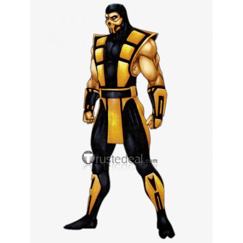 Mortal Kombat 3 Scorpion Yellow Black Cosplay Costume