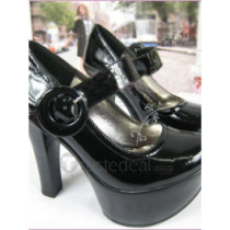 Top quality patent leather upper high Heel Pumps platform elevation and one adjustable strap Closed-toes dress shoes (B1093)