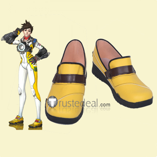 Overwatch T. Racer Tracer Lena Oxton Yellow Cosplay Shoes Boots