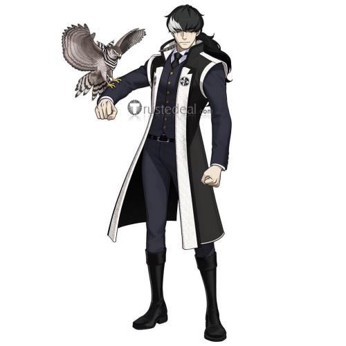 Ace Attorney Gyakuten Saiban Prosecutor Simon Blackquill Black White Ponytail Cosplay Wig