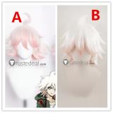 Super Danganronpa 2 Goodbye Despair Academy Nagito Komaeda White Pink Cosplay Wigs