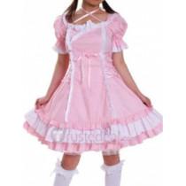 Cotton White Pink Short Sleeves Lace Ruffle Lolita Dress(CX420)