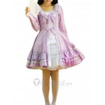 Cotton White Purple Long Sleeves Ruffle Lace Lolita Dress(CX433)