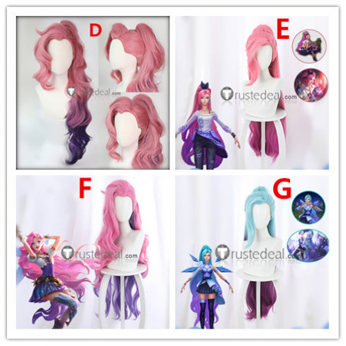 League of Legends Seraphine Pink Purple Blue Cosplay Wigs
