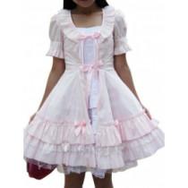 Cotton White Pink Short Sleeves Ruffle Lace Lolita Dress(CX432)