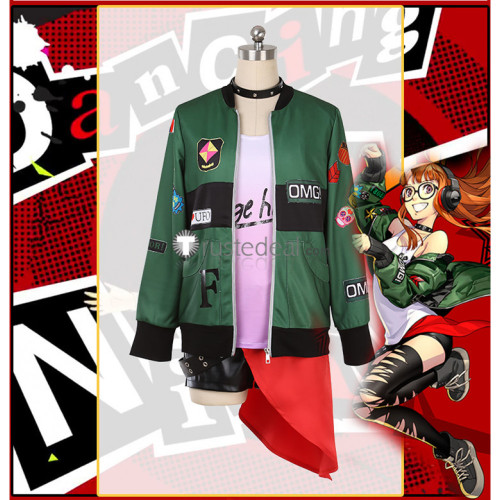 Persona 5 Dancing in Starlight Futaba Sakura Green Coat Cosplay Costume
