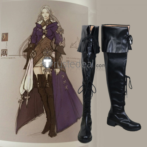 Final Fantasy 14 Ysayle Dangoulain Lady Iceheart Black Cosplay Boots Shoes