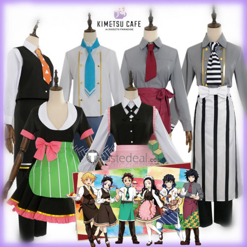 Kimetsu no Yaiba Demon Slayer Tanjiro Nezuko Inosuke Shirobu Mitsuri Obanai Kamado Zenitsu Giyu Cafe Maid Cosplay Costumes