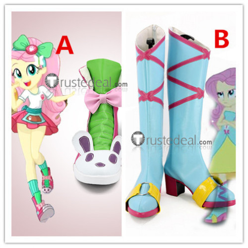 My Little Pony Equestria Girls Fluttershy Blue Cosplay Boots Shoes