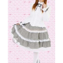 Cotton White Long Sleeves Blouse And Check Cloth Lace Lolita Skirt(CX178)