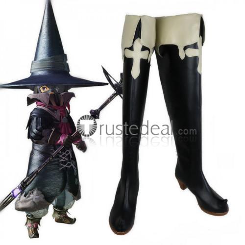 Final Fantasy 14 Black Mage Thaumaturge Black Cosplay Boots Shoes