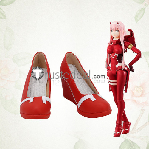 Darling in the Franxx Zero Two Jumpsuit Red Cosplay Boots Shoes