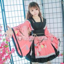 Gokuraku Jodo GARNiDELiA Lolita Kimono Yukata White Pink Cosplay Costumes