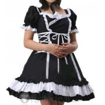 Cotton White Black Short Sleeves Lace Ruffle Lolita Dress(CX421)