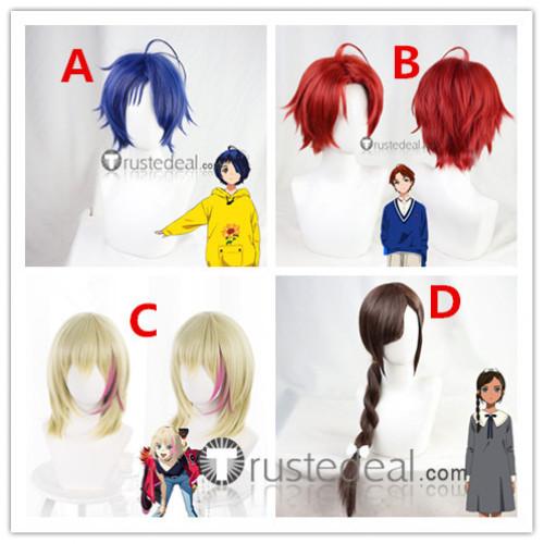 Wonder Egg Priority Ai Ohto Rika Kawai Sawaki Momoe Neiru Aonuma Blue Red Brown Cosplay Wigs