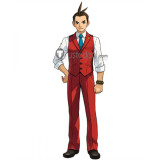 Ace Attorney Gyakuten Saiban 4 Apollo Justice Blue Red Cosplay Costume