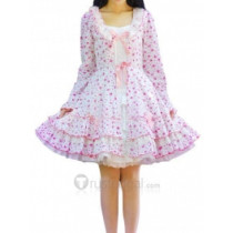 Cotton White Pink Long Sleeves Applique Ruffle Lolita Dress(CX429)