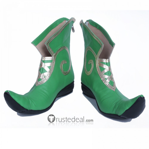 Overwatch Tracer Lena Oxton Jingle Skin Green Cosplay Shoes Boots