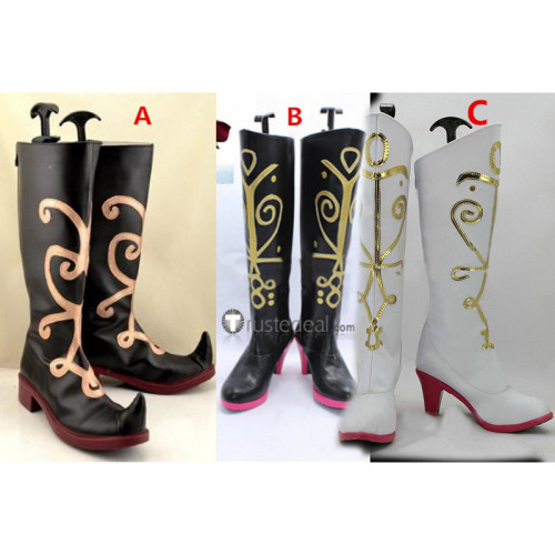 Frozen Disney Princess Anna Black White Cosplay Boots Shoes