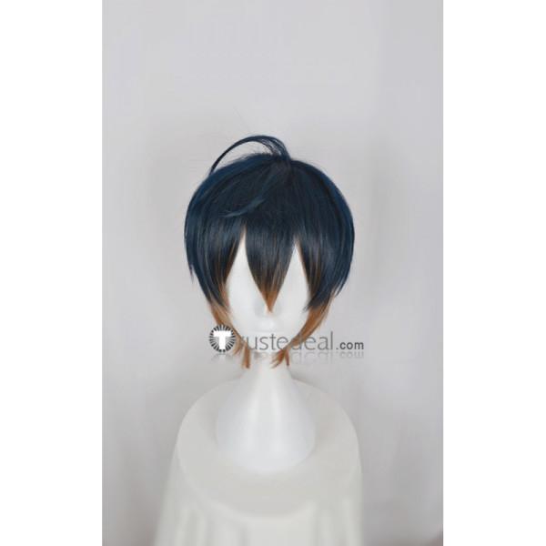 Act! Addict! Actors! A3! Spring Troupe Usui Masumi Dark Blue Brown Gradient Cosplay Wig