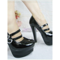 Top quality patent leather high Heel Pumps platform elevation and two adjustable buckle closures dress shoes (B1094)