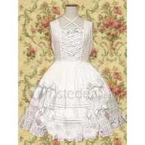 Cotton White Sleeveless Cotton Lolita Dress(CX164)