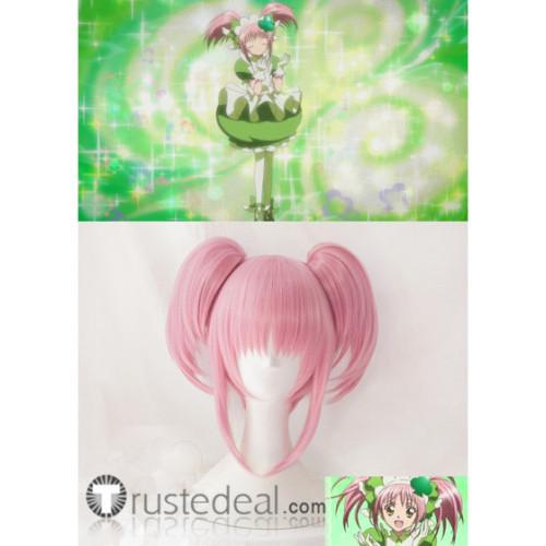 Shugo Chara Amu Hinamori Amulet Clover Pink Ponytails Cosplay Wig