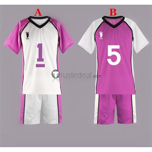 Haikyuu Shiratorizawa Academy Volleyball Uniform Wakatoshi Ushijima Satori Tendo Purple White Cosplay Costumes