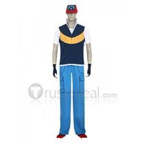 Pokemon Ash Ketchum Royal Blue And Yellow Cosplay Costume 1