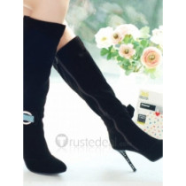 Top quality nuback high heel pumps side zipper and bowknot with rhinestone knee boots (D1073)