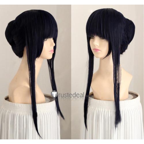 Naruto Hinata Hyouga kimono doujin Blue Black Cosplay Wig
