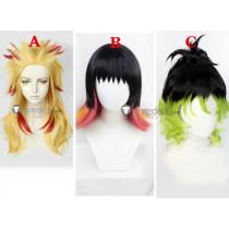Demon Slayer Kimetsu no Yaiba Kyojuro Rengoku Gyutaro Susamaru Blonde Black Green Cosplay Wigs