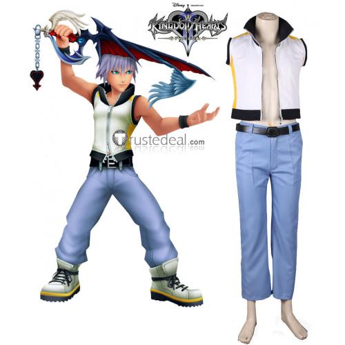 Kingdom Hearts 3D: Dream Drop Distance Riku White Blue Cosplay Costume