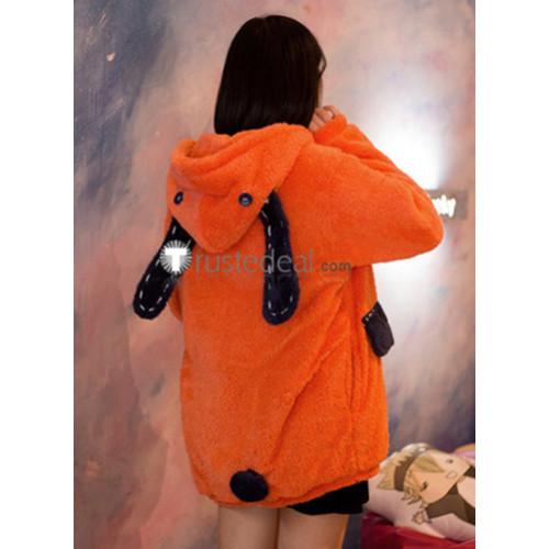 Kakegurui Gambler Runa Yomozuki Orange Fluffy Coat Hoodie Cosplay Costume
