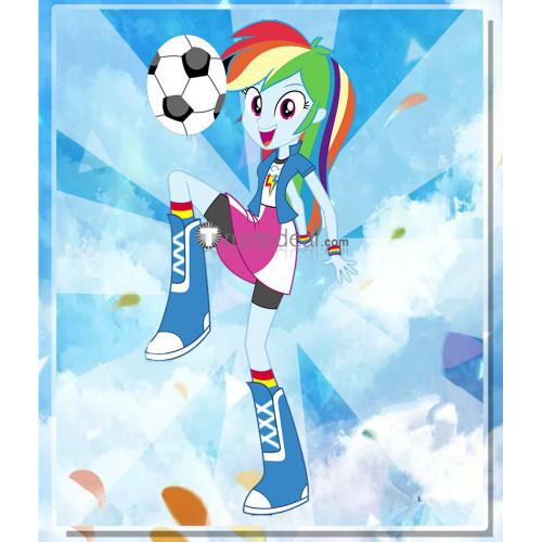 My Little Pony Equestria Girls Human Rainbow Dash Blue White Cosplay Costume