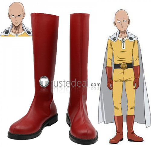 One Punch Man Saitama Red Cosplay Boots Shoes