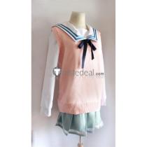 Kyoukai no Kanata Beyond the Boundary Kuriyama Mirai V Collar Pink Sweater Cosplay Costume