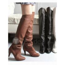 Top quality PU meduim heel knee boots(D1054)