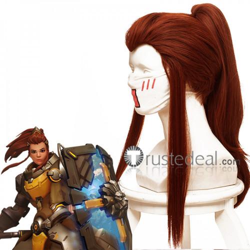 Overwatch Support Brigitte Red Brown Cosplay Wig