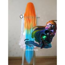 League of Legends LOL Cyber Pop Zoe Orange Blue Green Yellow Cosplay Wig 150cm