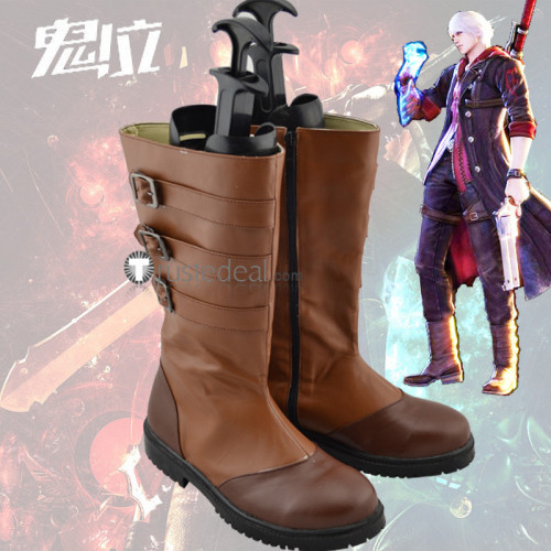 Devil May Cry 4 Nero Brown Cosplay Shoes Boots