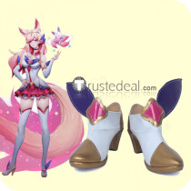 League of Legends Star Guardian Ahri White Golden Cosplay Boots Shoes
