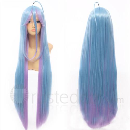 No Game No Life Shiro Long Blue Pink Cosplay Wig