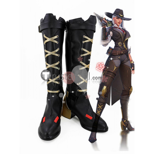 Overwatch Ashe New Hero Black Cosplay Boots Shoes
