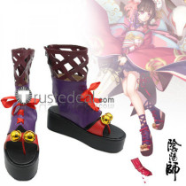 Onmyoji Kagura Purple Black Cosplay Shoes Boots