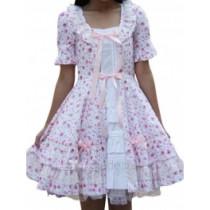Cotton White Pink Short Sleeves Applique Ruffle Lolita Dress(CX430)