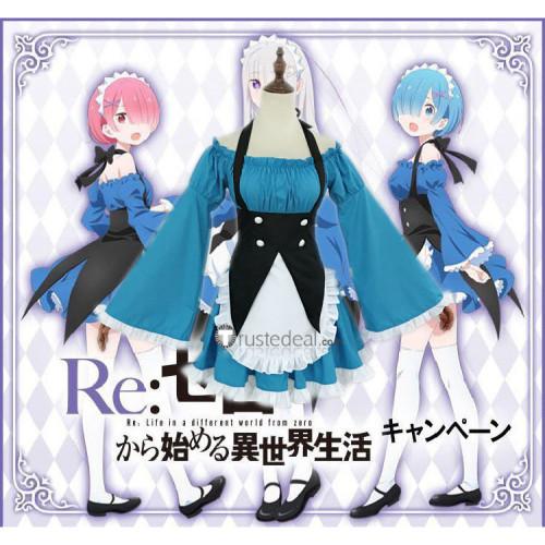 Re: Zero kara Hajimeru Isekai Seikatsu Rem Ram Maid Blue Cosplay Costumes